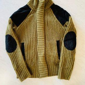 Wool zip & snap cardigan jacket